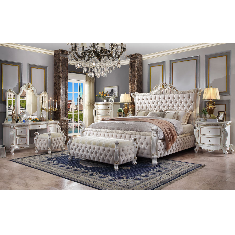 LongHao luxury furniture bedding set for luxury white bed room set