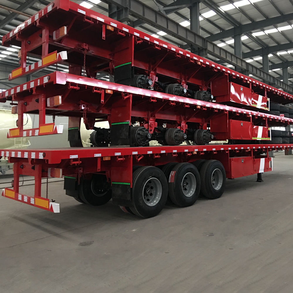 China 20ft 40ft 3 As Roda 50ton Kontainer Chassis Truk Flatbed Semi Trailer untuk Dijual