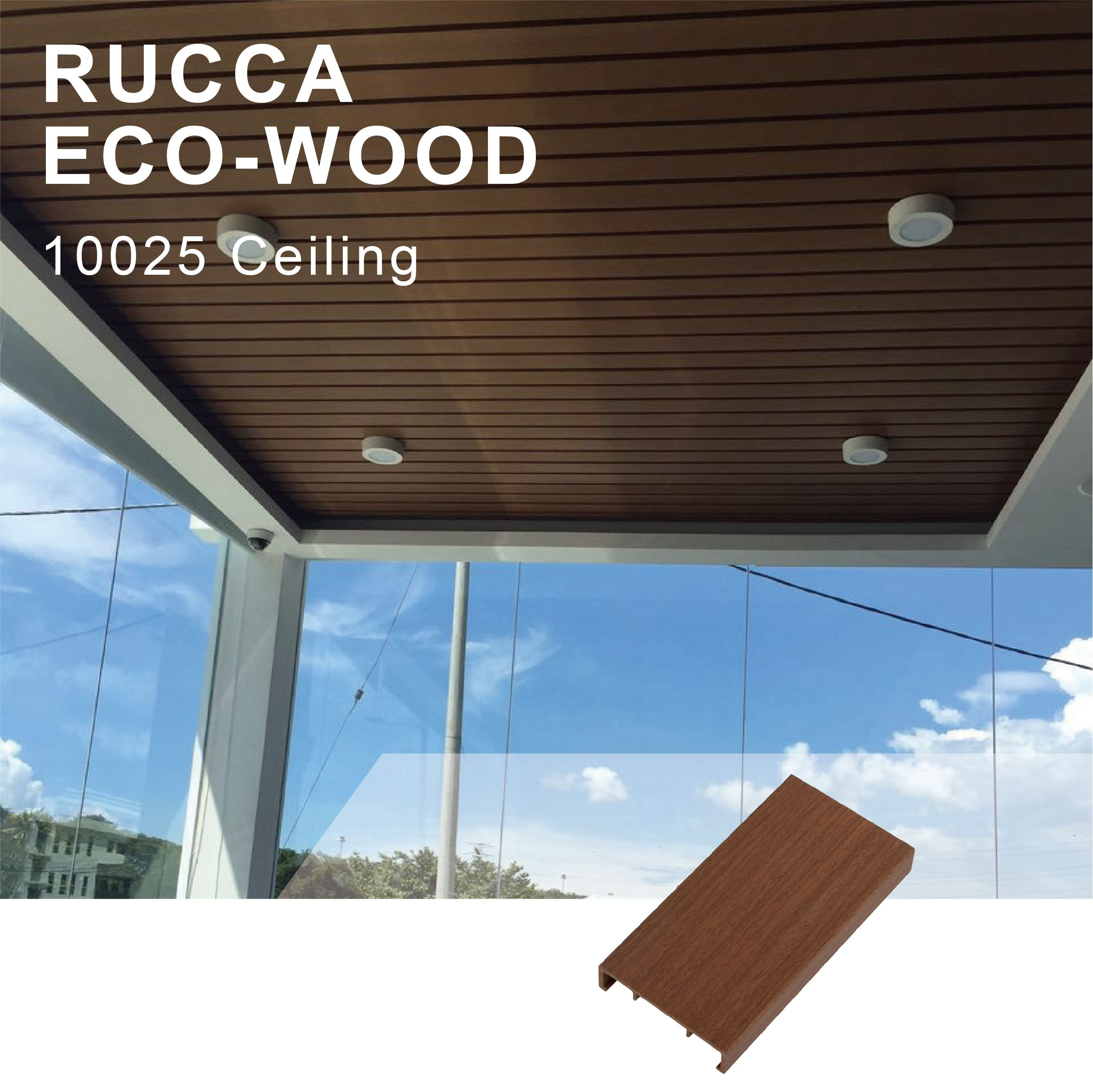 WPC Wood Plastic Modern False Ceiling Tiles Design, 100*25mm Decorative Teak Wood Ceiling Panel