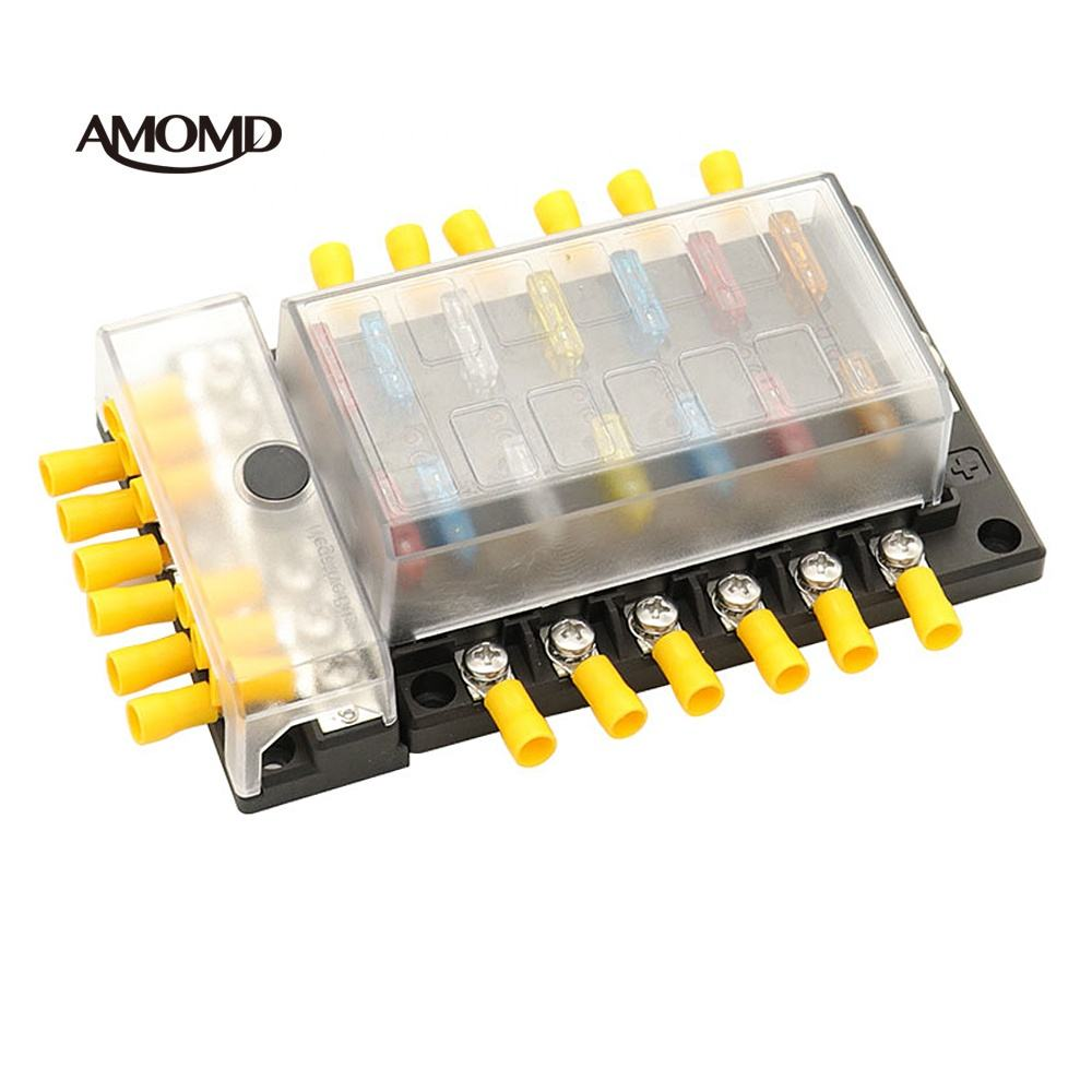 Hot Deal [ Fuse ] 12 Way Fuse Box AMOMD 12 Slots Type Dustproof Blade Fuse Holder Block Box With Detachable Bus Bar