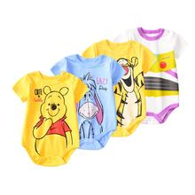 Newborn Baby Clothes 100% Cotton Romper Summer Cartoon Printed Knitted Jumpsuit For Toddler