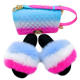 Popular and Colourful fox and rabbit fur slides slippers for women and children