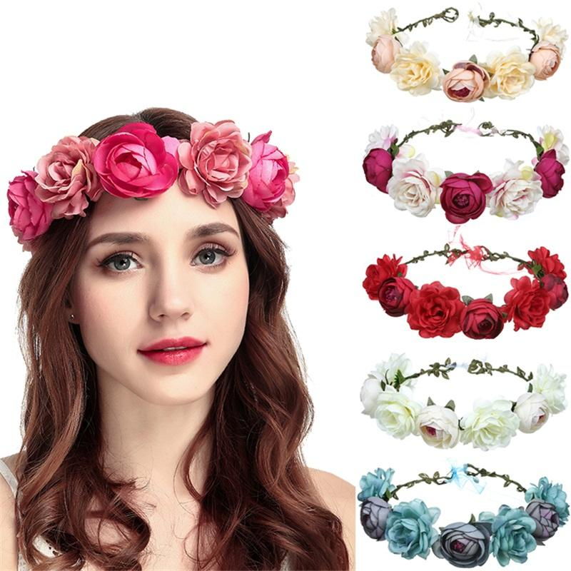 HH8 Wholesale Women Hair Accessories Adjustable Fabric Wedding Wreath Crown Rose Headband Artificial Flower Garlands For Girls