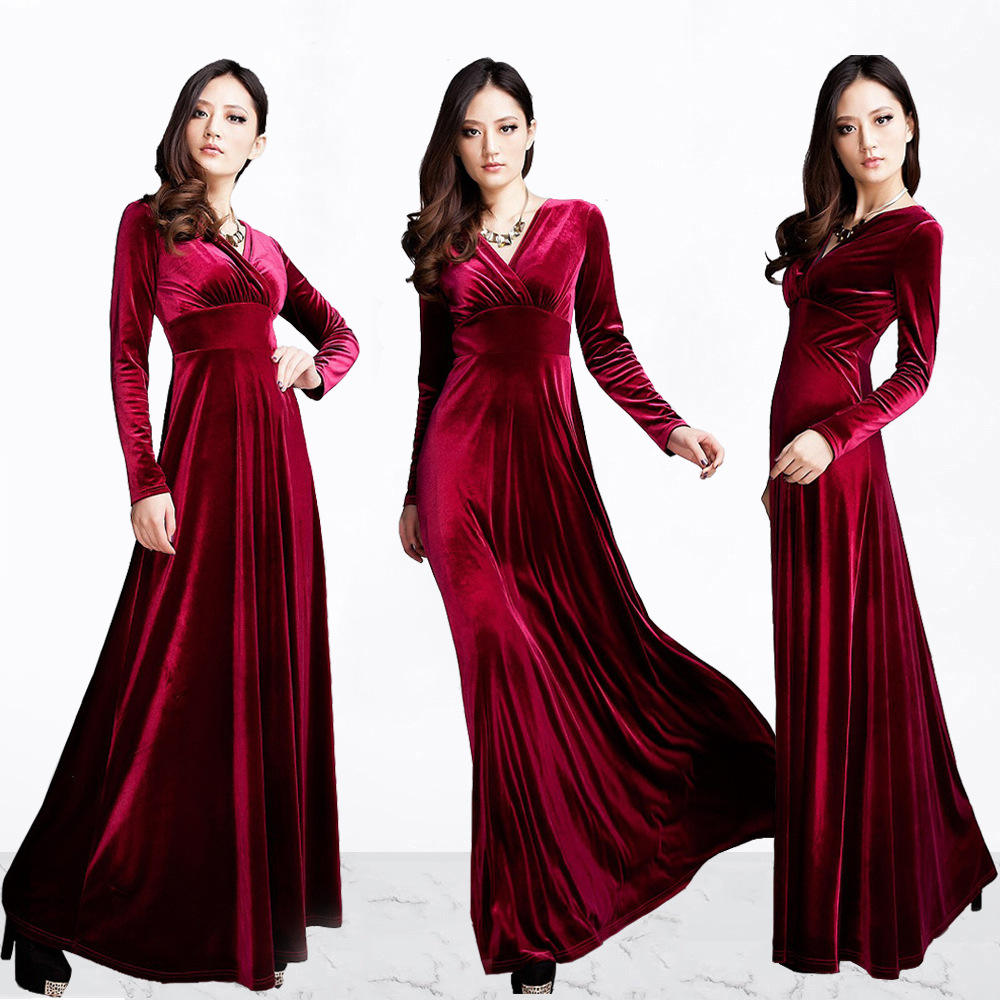 Popular fall full length long sleeve V-Neck long and wide swing velvet dress