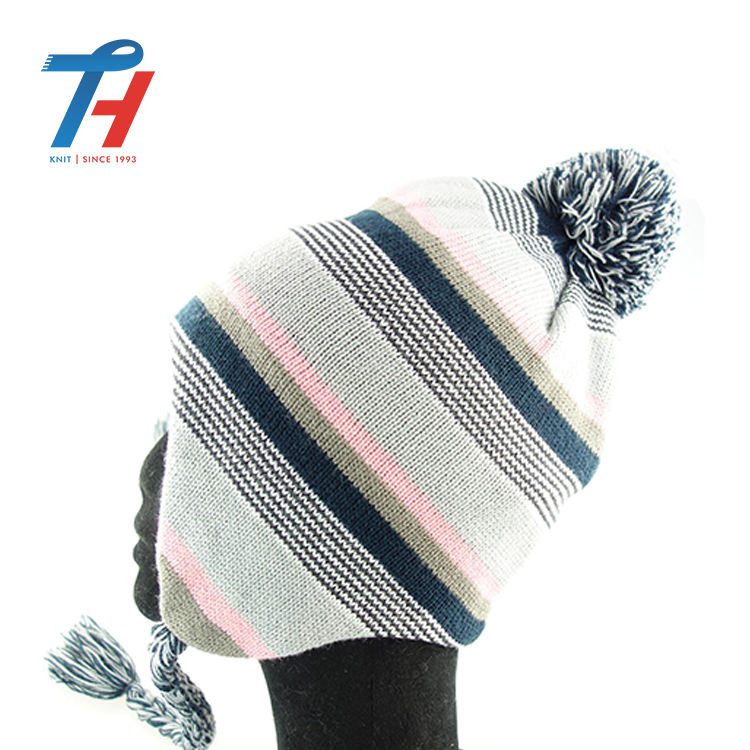 Russian Mom Boy Pom Poms Hat Knitted Cap Knitted Hats Winter Warm Cashmere Hat Striped Beanie Knit