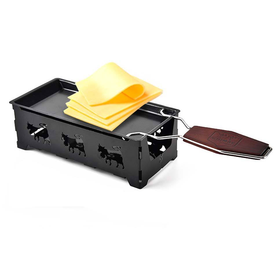 Mini Solid Wood handle Cheese Grill plate baking tools Cheese tray Home baking oven microwave oven use Non-Stick Cheese pan dish