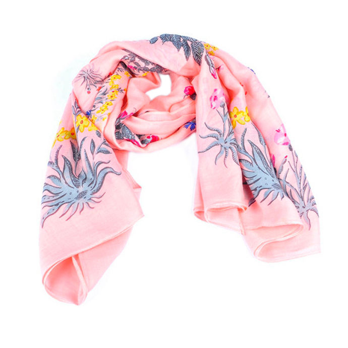 new model pink wool floral scarf for woman
