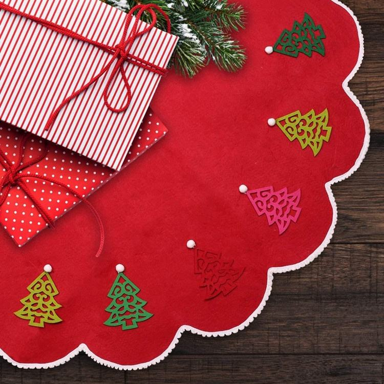Tree Shape [ Tree Trees Decorations ] Red Felt Christmas Tree Skirt 48 Inches Large Christmas Trees Mat Party Decorations Indoors
