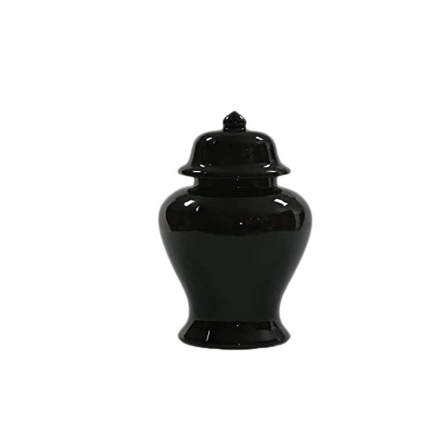Custom Design Funeral Supply Ceramic black human ashes urn adult urn
