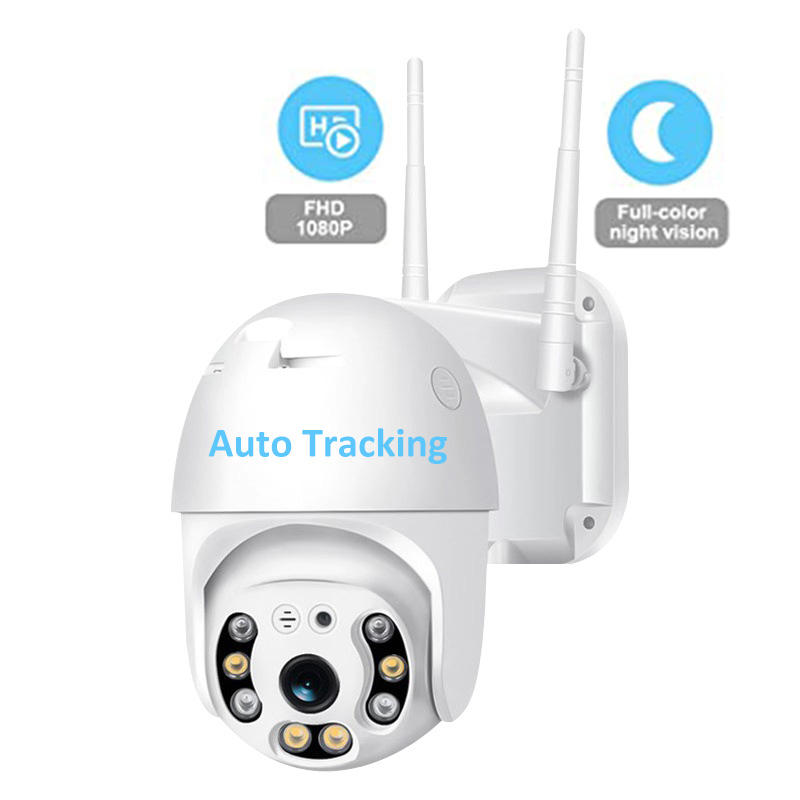 Outdoor PTZ WiFi Wireless IP Security Camera 1080P Home Surveillance SD Slot Two-Way Audio Auto Tracking Color Night Vision Cam