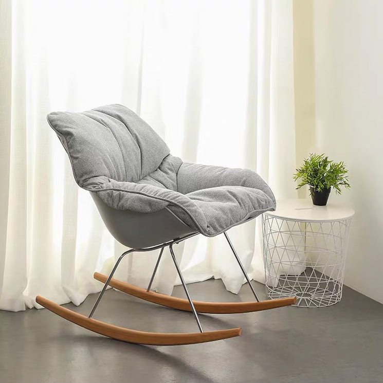 New design soft big size leisure PP with fabric seat relaxing rocking chair creative designer small apartment sofa chair