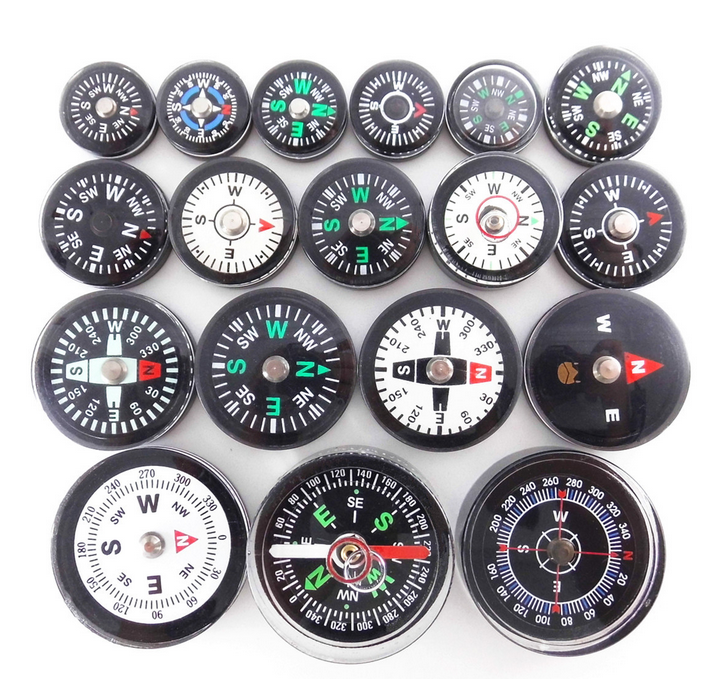 18mm 20mm 25mm 30mm 35mm Round Plastic Mini Compass ,Button liquid filled compass for hiking and camping