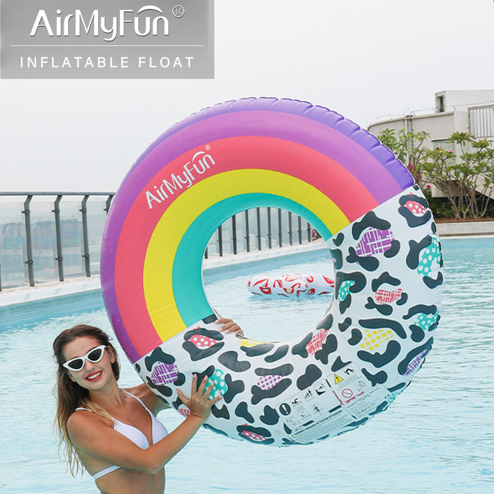 Airmyfun 12P Leopard And Rainbow Inflatables Swim Pool Float Ring Manufacturers