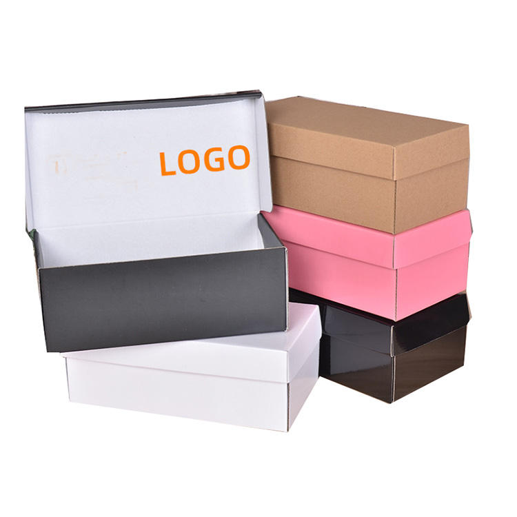 Wholesale Corrugated Paper Shoe Packaging Box Custom Logo Printed Folding Rigid Cardboard Paper Shoe Boxes