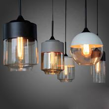 Kitchen island black iron decorative E27 clear glass hanging lamp hotel restaurant hand blown nordic modern glass pendant light
