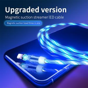 Led phone cable Glow Flowing Magnetic Fast magnetic usb phone charger cable
