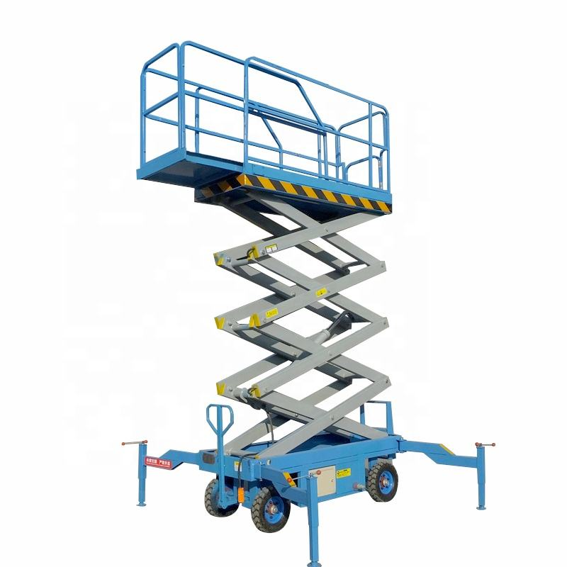1000kg Trail-type small platform folding scissor lift with extension platform
