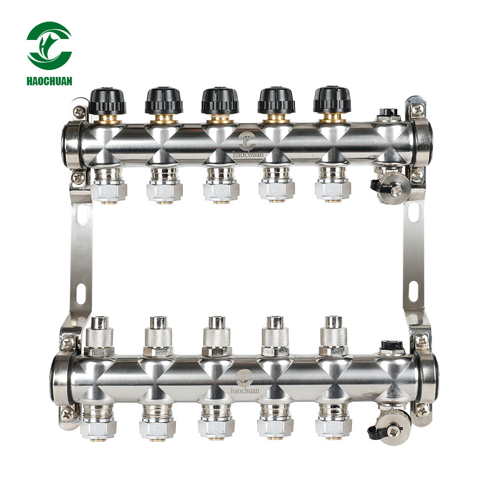 HC-1029 2ports~13ports Stainless Steel Forging Water Heating Valve Heater Stainless Steel Manifold Hvac System