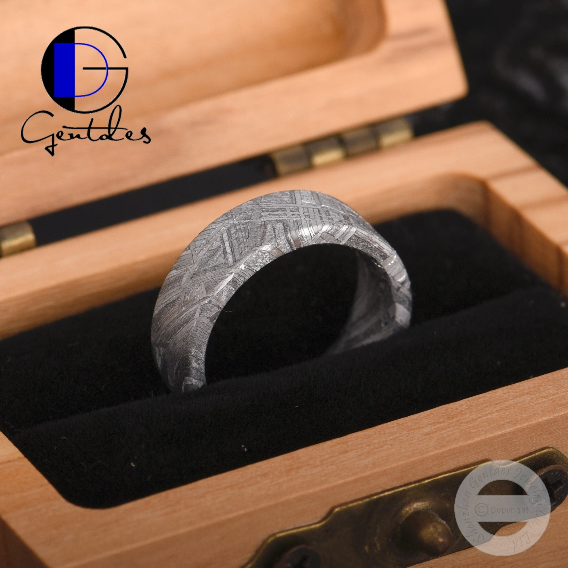 Gentdes Sieraden Hot Selling <span class=keywords><strong>Mannen</strong></span> Wedding Bands Real Meteoriet Ring