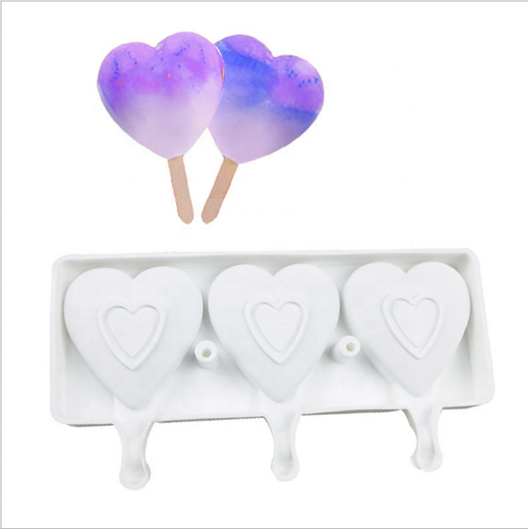 3pcs Sweet Heart Shape Silicone Popsicle Cake Mold DIY Valentine's Chocolate Heart Silicone Ice Cream Mould