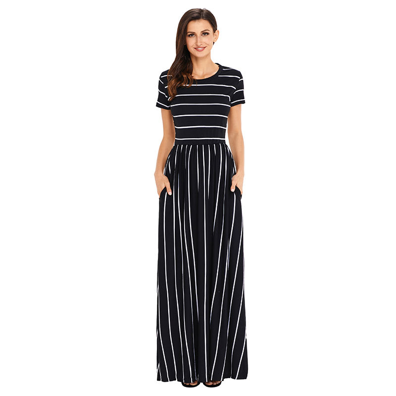 OEM Women Dresses White Striped Black Short Sleeve Casual Maxi Dress