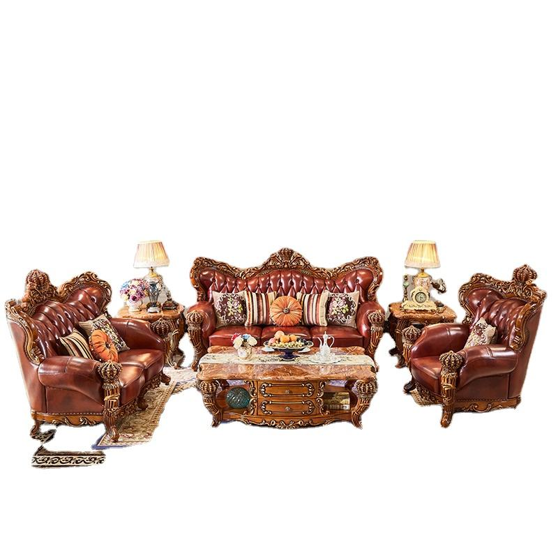 Chinese style Classic camas Italian living room leather sofa set furniture salon