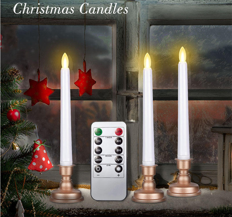 Christmas Window Stick Candle LED with Gold Base / Flameless Warm Light Flashing Flame Candle Remote Control