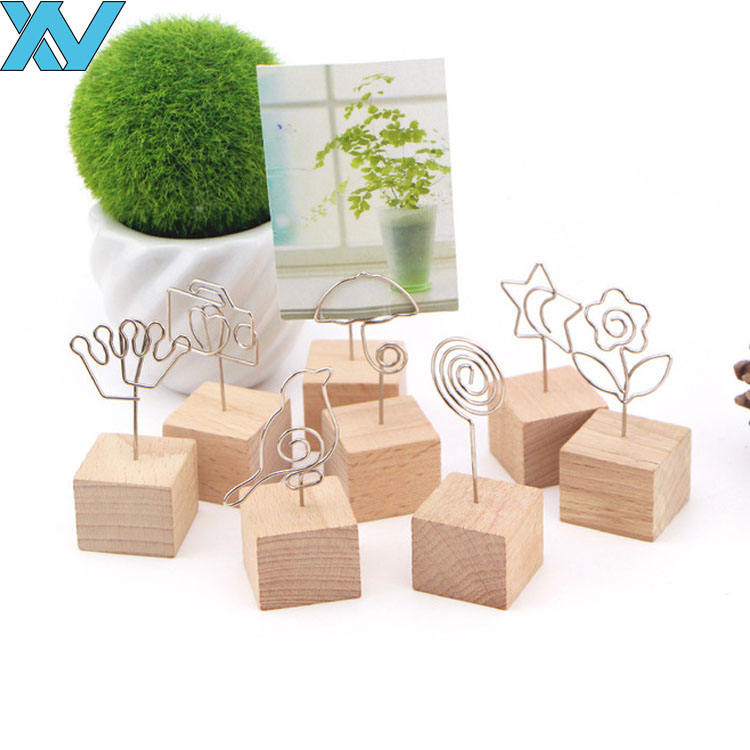 business card holder photo holder memo clips wood base