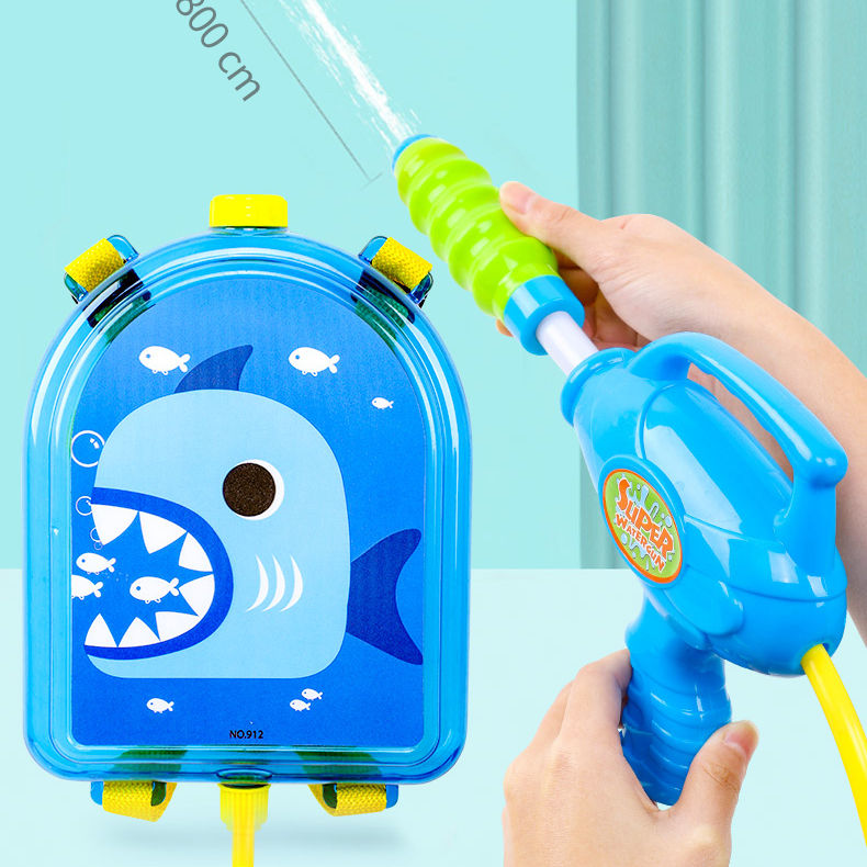 One-Stop Service Dropshipping Summer Pull-out Water Gun Children's Beach Play Toys Transparent Backpack Water Gun Boys And Girls