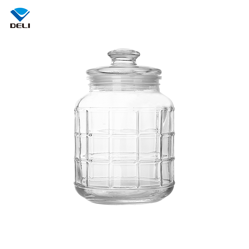 Decorative Unique 2.2L 74.4oz Cheap Large Glass Jar for Food Storage with Grid Pattern
