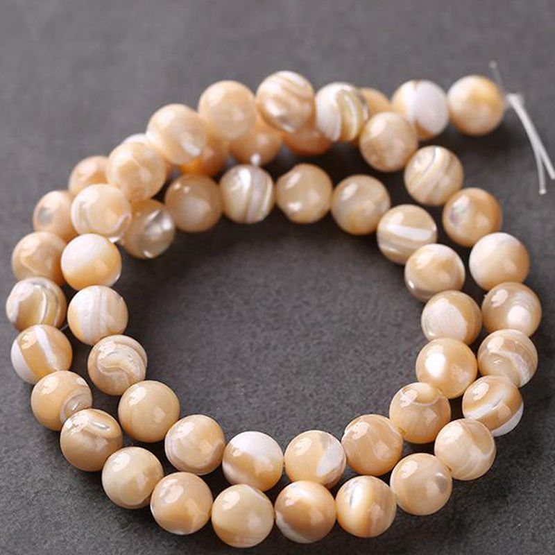 Natural Brown Trochus Seashell Gemstone Round Loose Mother Of Pearl Beads For Jewelry Making Necklace Bracelet Earring