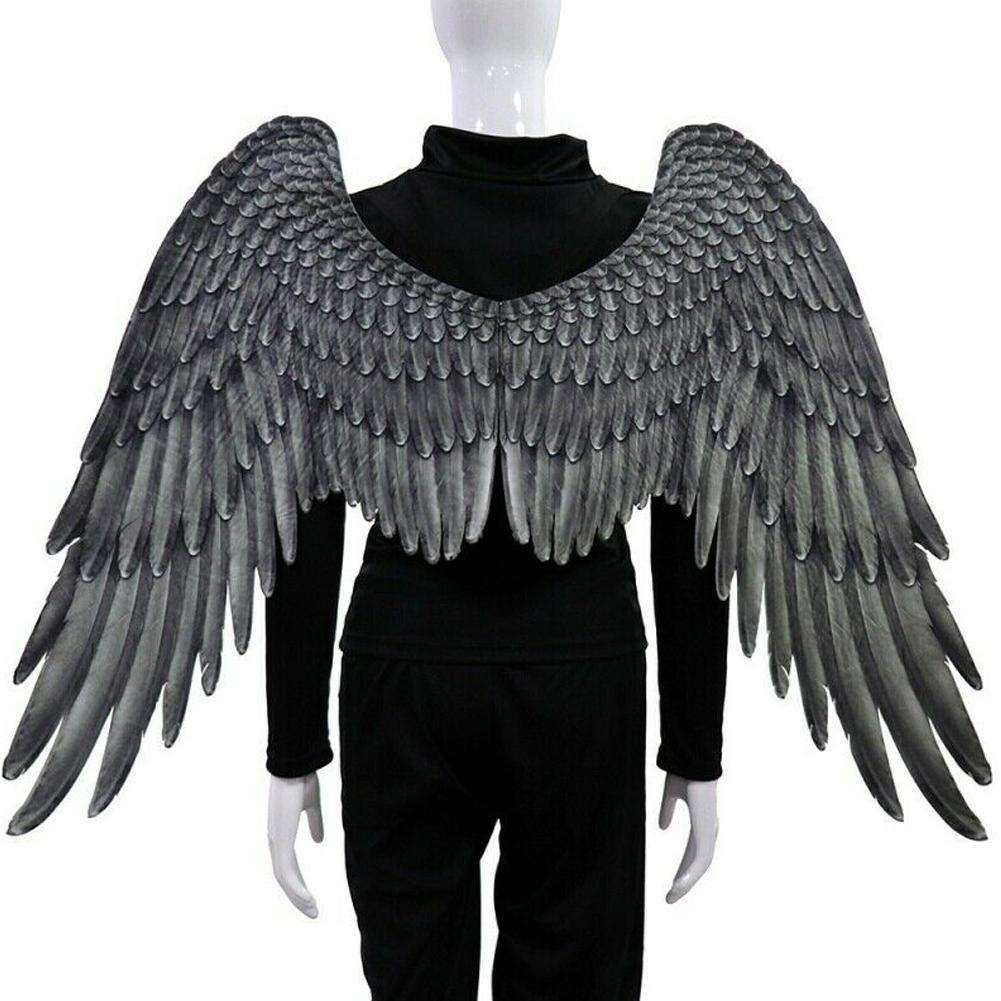 Mardi Gras Halloween Performance props Adult Unisex Angel Wings Christmas Party Cosplay Costume Masquerade Black/White