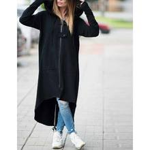 2929 YADI Women Hooded Long Sleeve Zipper Drawstring Casual Irregular Coat Casual Solid Long Jacket Sweatshirt Plus Size