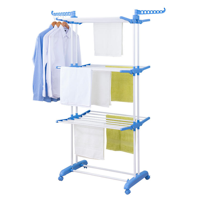 Amazon Hot Sell Movable 4 Tiers Foldable Houseware Stainless Steel Metal Clothes Coats Towels Glove Hanger Laundry Drying Racks