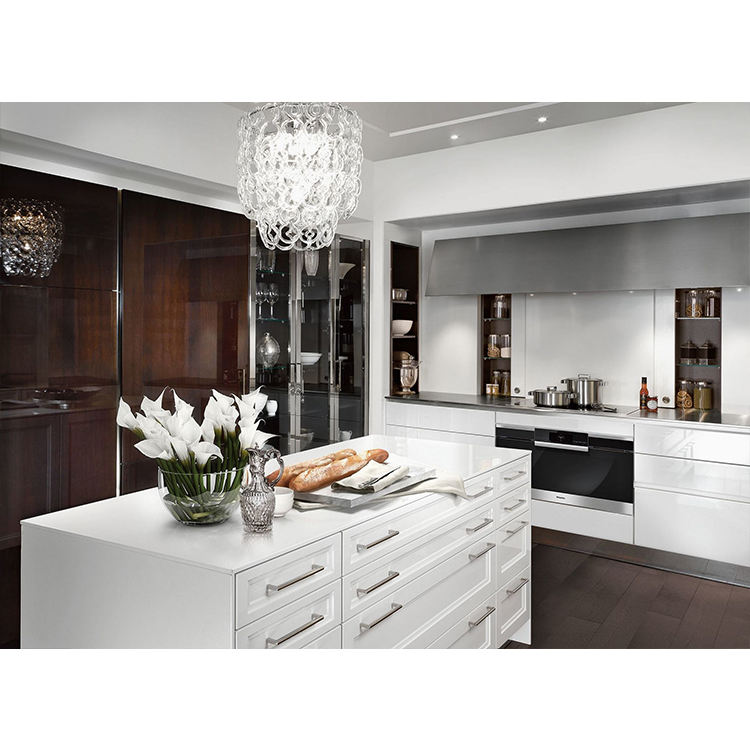Professional Kitchen Cabinets Manufacturer Imported High Gloss Brown Industrial Modern Kitchen Designs From China