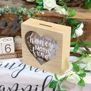 Cute Fashion Personalized Funny Home Decor Honeymoon Fund Heart Wooden Money Box