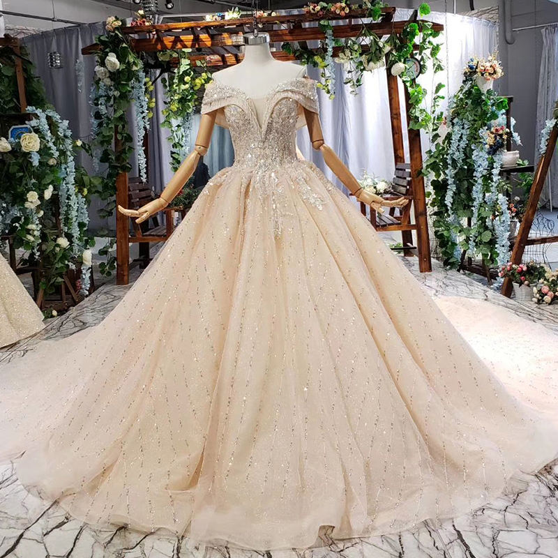 HTL715 Jancember Manufacturer Custom New Off Shoulder Tulle Wedding Dress 2019 Ball Gown Style