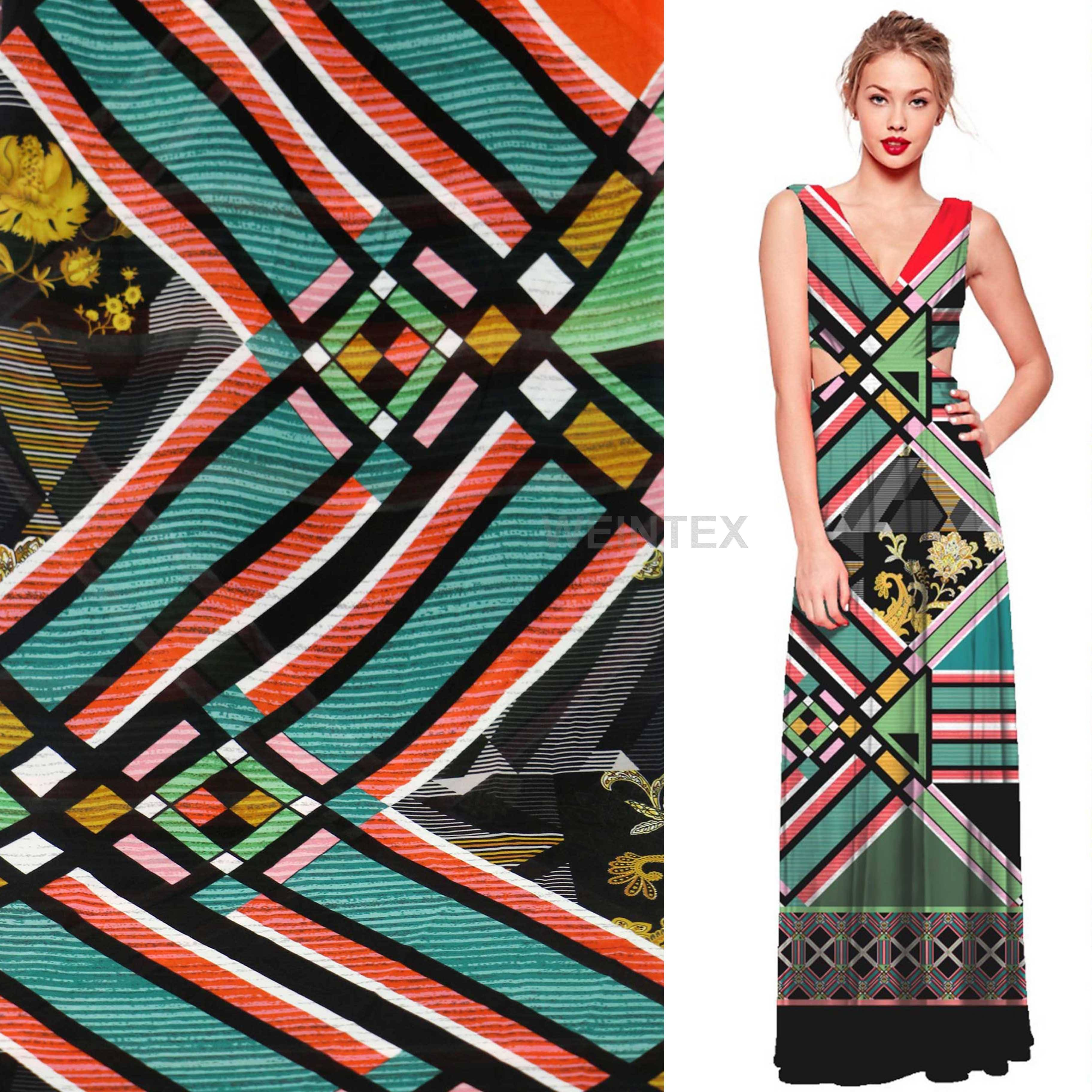WI-A08 Best price 100% polyester block check geometric printed fabric 85gsm chiffon for maxi dress