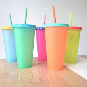 Wholesale BPA free custom logo change color plastic cup 24 oz magic cold color changing mug Reusable plastic tumbler