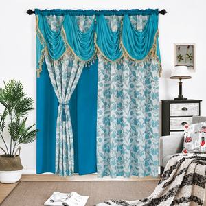 Fancy Elegant Valance Fashion Floral Designs Polyester Jacquard Window Curtain Fabric For Living Room