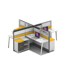 Modern modular office furniture partition 4 seat workstation cubicle desk