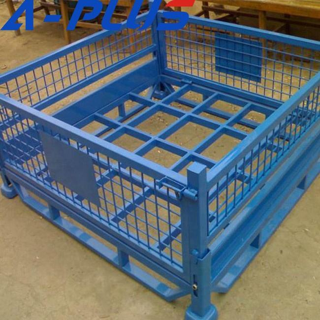 European Saving Space Customized Lockable Folding Wire Mesh Pallet Storage Cage