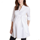 100% long line maternity shirt pleat tie waist wholesale maternity clothes pregnant women blouses