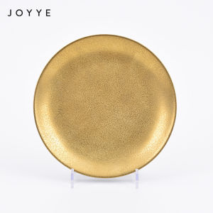 Joyye New Plates Restaurant Dishes Speckled Reactive Glaze 21cm Golden Side Dish Plate