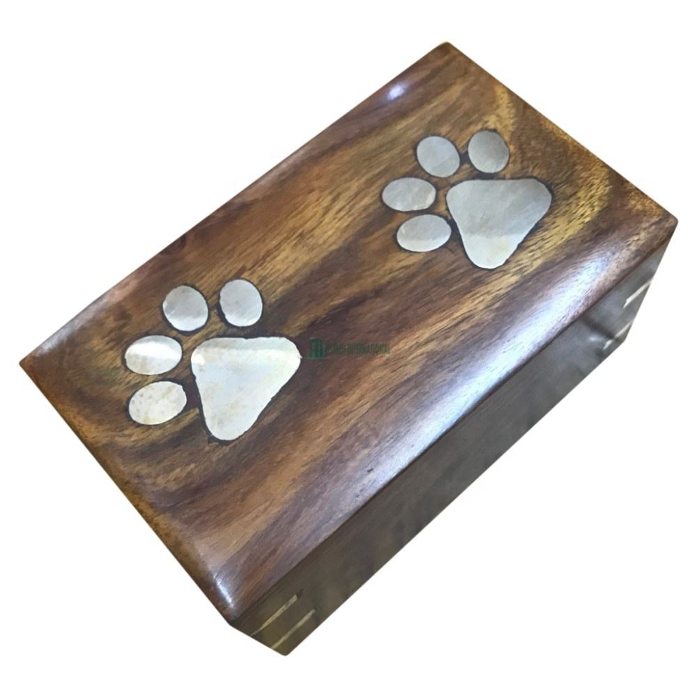 Wooden Box Cremation Urns - Paw Print Wood Rectangle Ashes Urns - Pet Brown Cremation Urns - Wholesale Handmade Funeral Supplies