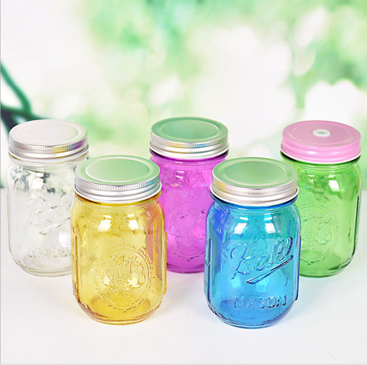 18oz 500ml custom colored glass ball mason jars for food wholesale with metal lid
