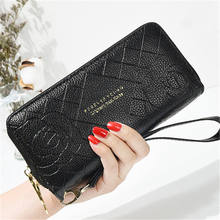Women long wallet double zipper buckle clutch bag phone bag embossed handbag purse
