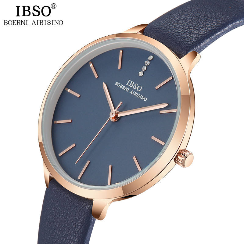 2019 IBSO Ladies Luxury Watch 9 MM Ultra Thin Watch Genuine Leather Strap Quartz Women Watch Simple Clock Montre Femme 6603
