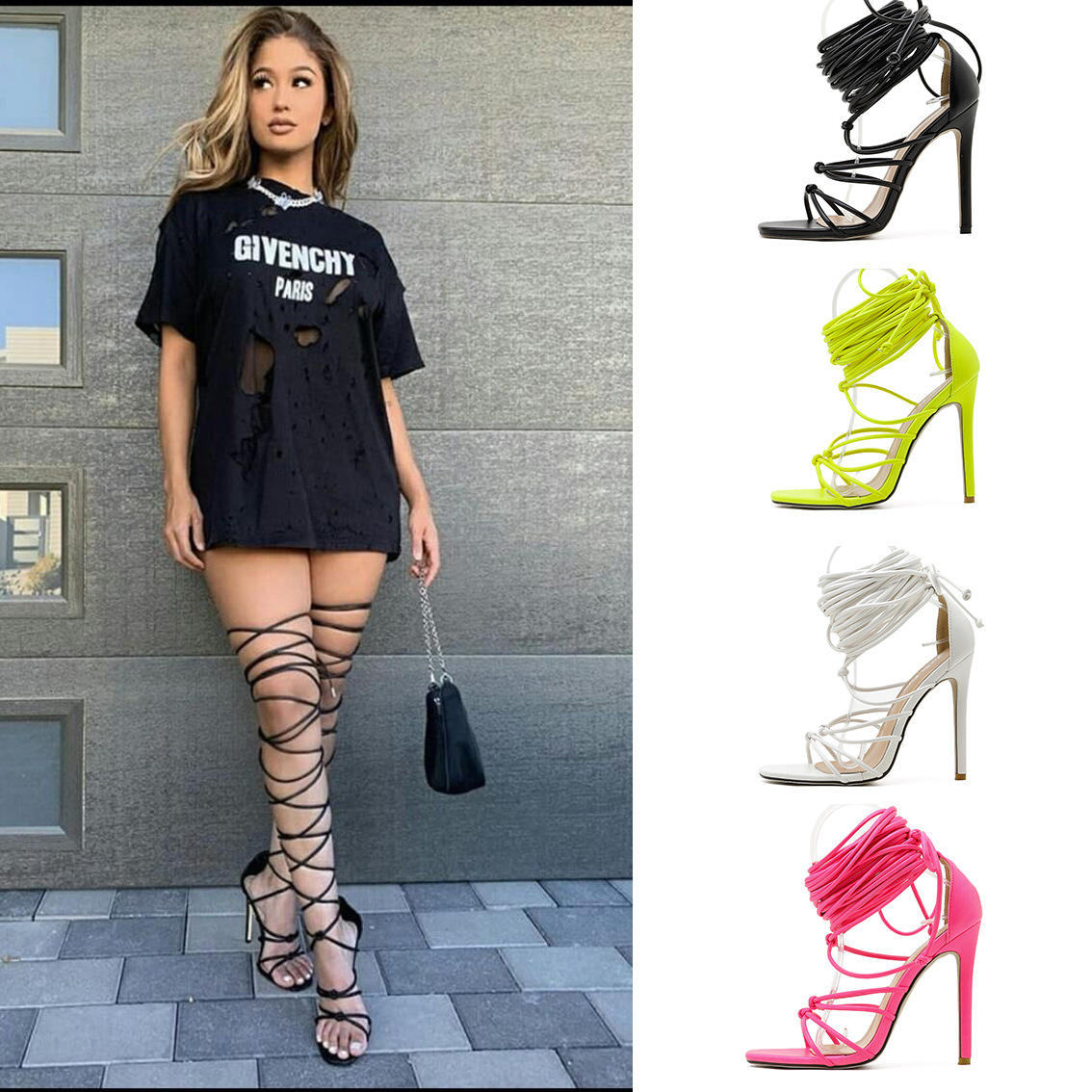 China Wholesale Lace Up Ladies Shoes Women Sexy Shoes High Thin Heels Sandals For Women And Ladies