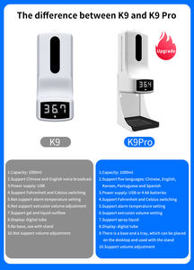K9 Pro Plastic 1000ml Wall Mounted Touchless Liquid Soap Dispensers Automatic